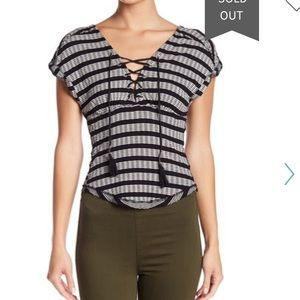 Free people lace up sail out tee black and white